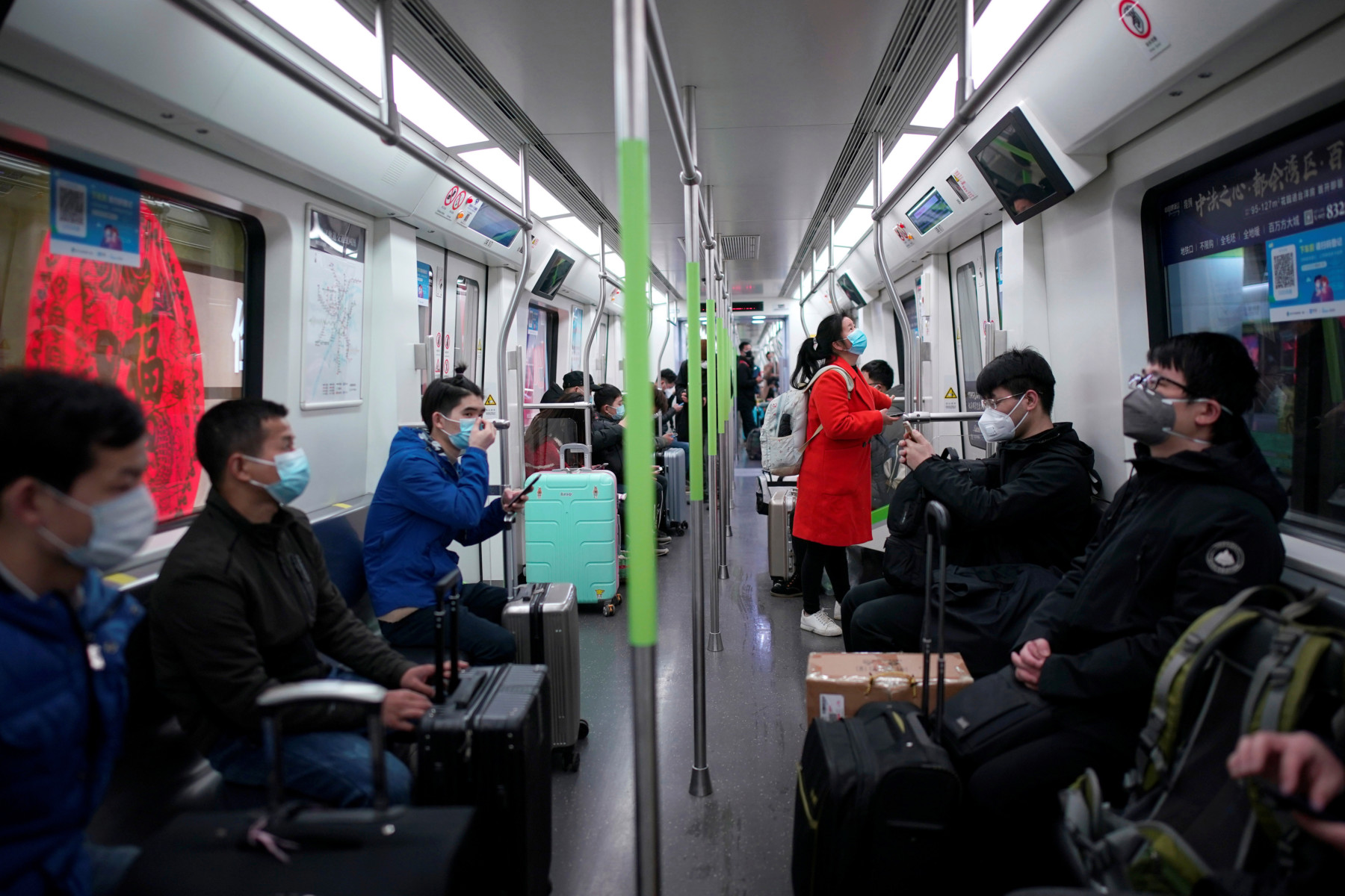 Passengers travelling on the subway in China